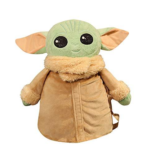 HLAA Mochila de bebé Yoda Mandalorian Plush Toy Bag Star Wars lindo regalo para niños