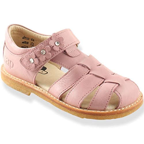 Ledersandalen Blume Klettverschluss - Pink Nude - Mädchen Sandalen, - Rosa Nude - Größe: 25 EU