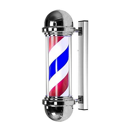 KauiP 50cm Barber Pole Enseigne Lumineuse pour Barbier Shop,Vintage Poteau De Coiffeur Salon LED Poteau De Barbier Signe Rouge Blanc Bleu Bandes Mur Lampe