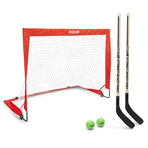GoSports Hockey Street Set | Includes Pop-Up Goal and 2 Hockey Sticks with 2 Hockey Street Balls