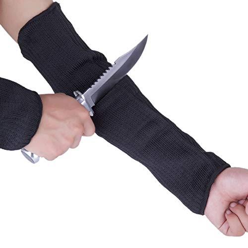 Balight 1 Paar Ellbogenschützer schnittfest Lange Ärmel Level 5 Polyester Stahldraht leicht Atmungsaktiv Sicher Schutz