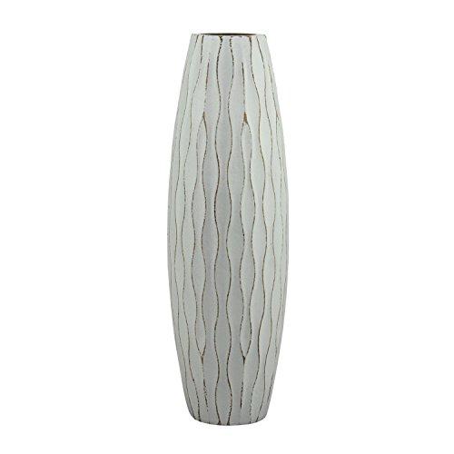 Stonebriar Vintage Textured Pale Ocean Blue Tall Wooden Vase, Medium