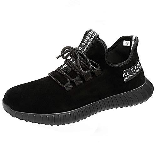 CHNHIRA Homme Femme Chaussure de Sécurité Chantiers Chaussures de Travail Unisexes Semelle de Protection (EU43 Noir suède1)