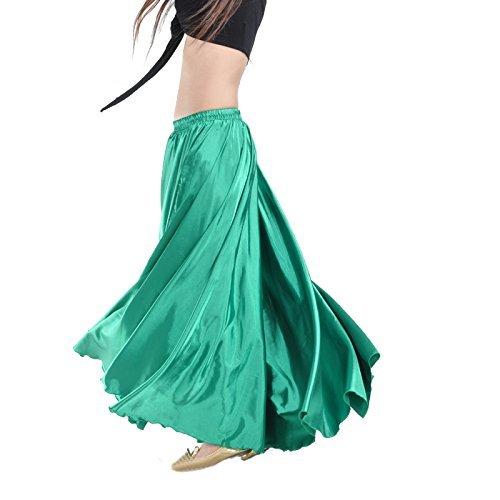 Calcifer - Falda para danza, satén, larga, con vuelo, para danza del vientre, para disfraz, para mujer, para profesionales, Verde oscuro