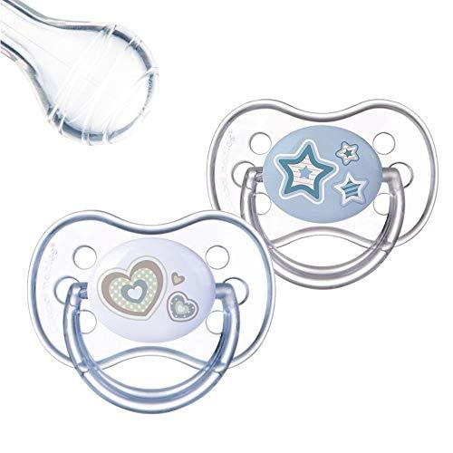 Canpol babies 2 Beruhigungssauger Silikon Kirschform Rund, Doppelpack (0-6 Monate)