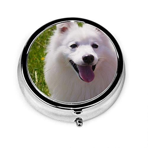 American Eskimo Dog Pill Box Portable Pill Organizer Case Small Case Excellent Travel Case Holder for Purse Or Pocket
