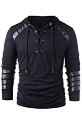 Men Gothic Steampunk Drawcord Lace up Hoodie Medieval Knight Long Sleeve Stitching Leather Armor Sweatshirt Pullover Black, M Including: hoodie. Perfect for daily wear, carnivals, Halloween, theme parties, etc. Please check our size chart in the pict...