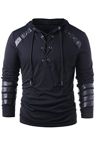 Men Gothic Steampunk Drawcord Lace up Hoodie Medieval Knight Long Sleeve Stitching Leather Armor Sweatshirt Pullover Black, XL Including: hoodie. Perfect for daily wear, carnivals, Halloween, theme parties, etc. Please check our size chart in the pic...