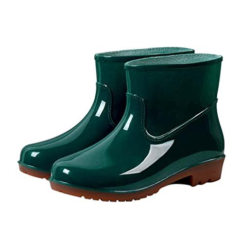 Damen Kurze Gummistiefel Halbhoch rutschfeste wasserdichte Regenstiefel Gummistiefeletten Regenstiefel Kurzschaft Boots Anti-Rutsch Outdoor Gartenschuhe Damen Gummistiefel Schuhe,Größe 36-40