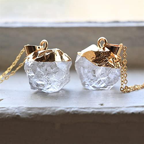 JSJJARF Pendentif Pierre Naturelle Colliers en Or Brut Femmes Guérison Crystal Pendentif Collier Blanc Quartzs Bijoux Bijoux Cadeau de Naissance (Metal Color : Gold Color)