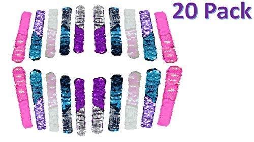 GSM Brands Mermaid Bracelet - Reversible Sequin - Multi-Color Fashion Party Favor - Velvet Lining - Slap Style - 20 Pack