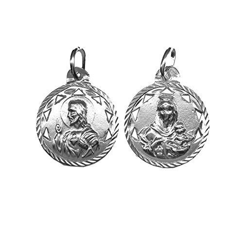 Medalla Escapulario Calado Plata Ley 925ml. 18 mm diametro. Virgen del Carmen y Sagrado Corazon de Jesus