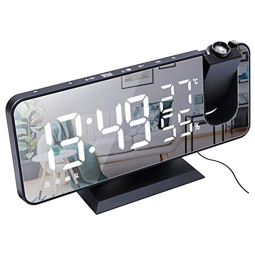 LOULE Multifunktionale Spiegel Digitale Wecker Led-Anzeige mit Radio Temperatur Und Feuchtigkeit Display Moderne Wecker Geeignet für Schlafzimmer Büro