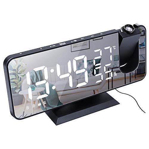 Vitor Sveglia con Proiettore, Sveglia Digitale da Comodino a LED con Funzione Radio FM, Porta di Ricarica USB, 4 Livelli di Luminosità 2 Sveglie, Snooze, Camera da Letto, 12/24 Ore,Termometro Interno