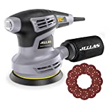 Jellas Orbital Sander, 125MM Sander Machine with 13000RPM 6 Variable Speed, Dust Collection Bag, 360°Rotating Sanding Base Plate, 3Meter Power Cord Random Orbit Sander, OS02