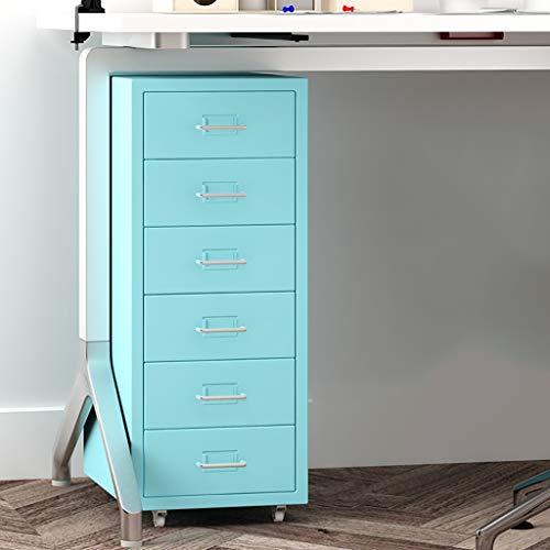6 gesloten ladekasten, blauwe lades set systeembox vak voor gegevens 280 × 410 × 690 mm 1.0mm thickness