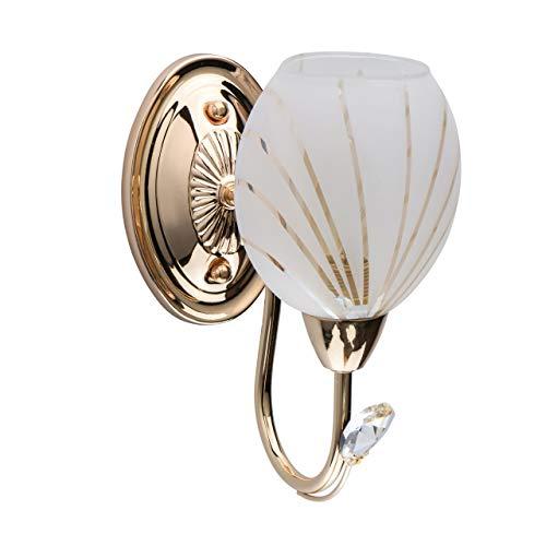 DeMarkt 267022201 Applique da Parete Gocca di Cristallo Metallo Colore Oro Vetro Bianco con Pattern di Righe E14 1 luce x 60W
