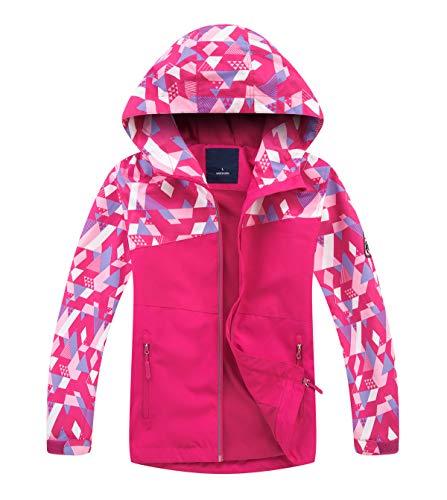 YoungSoul Kinder Gefütterte Regenjacke Mädchen Windjacke Jungen Übergangsjacke Outdoorjacke mit Farbblock und Geometrischem Rot DE: 146-152 (Herstellergröße 150)