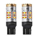 LASFIT CANBUS Anti Hyper Flash 7443 7444 T20 Dual Color Switchback LED Amber Turn Signal Light Blinker Bulbs, White Daytime Running Parking Light, No Load Resistor Need, Standard Socket (Pack of 2)