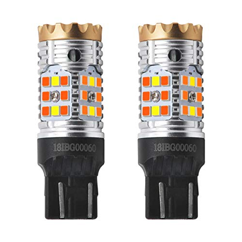 LASFIT CANBUS Anti Hyper Flash 7443 7444 T20 Dual Color Switchback LED Amber Turn Signal Light Blinker Bulbs, White Daytime Running Parking Light, No Load Resistor Need, Standard Socket (Pack of 2)