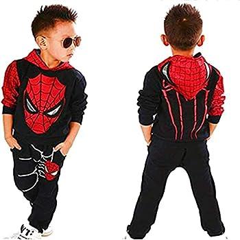 2Piece Toddler Kids Baby Boys Spiderman Outfits Set,Long Sleeve Pullover Hoodie Sweatshirt Pants Clothing Suit Black 3-4T