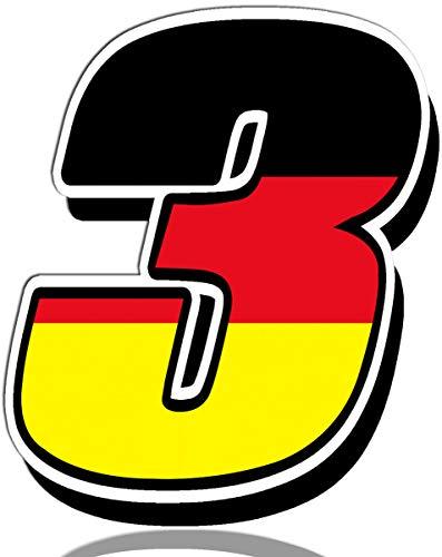 Biomar Labs® Startnummer Nummern Auto Moto Vinyl Aufkleber Deutschland Germany Nationalflagge Flagge Sticker Motorrad Motocross Motorsport Racing Nummer Tuning 3, N 253