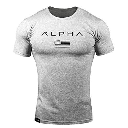 Riou Sport T-Shirt Herren Rundhals Basic Sportshirt Muskel Slim Fit Fitness t Shirt männer Sommer Kurzarm Shirt Quick-Dry für Gym Jogging Yoga Tee