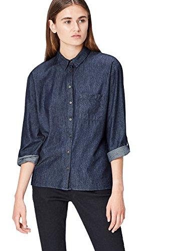 FIND Camisa Cambray para Mujer , Azul (Blue), 40 (Talla del Fabricante: Medium)