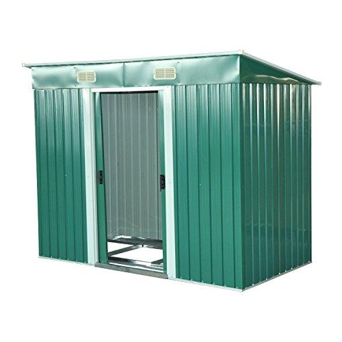 Outsunny Box Casetta Porta Attrezzi da Giardino in Lamiera d'Acciaio 237 x 119 x 181cm, Verde