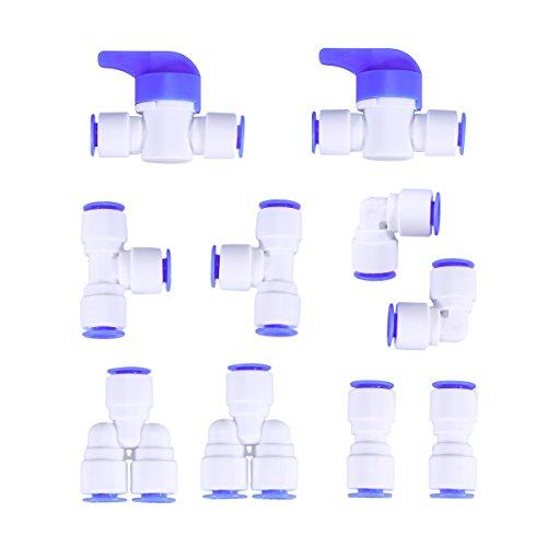 UEETEK 10 pezzi 1/4 di pollice in plastica per connessione rapida Premere per collegare il set di tubi per acqua