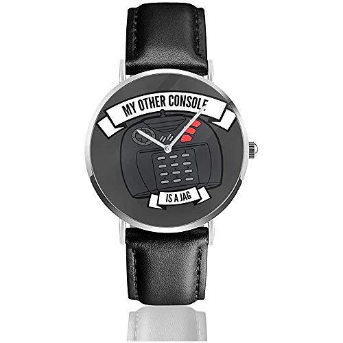 Meine andere Konsole ist eine Jag Atari Uhren Quarz Lederuhr mit schwarzem Lederband für Sammlungsgeschenk
