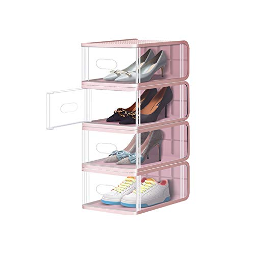 Zapatero Caja de zapatos apilable zapato cajas de almacenamiento organizador robusto plástico puerta y tapas cajas de zapatos transparentes conjunto de 8 Armario Organizador ( Color : Pink )