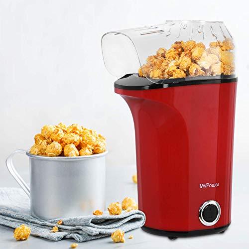 MVPOWER Macchina Popcorn 1400 W Macchina per Popcorn Automatica, Potente Aria Calda Senza Olio, Coperchio Rimovibile e Senza BPA