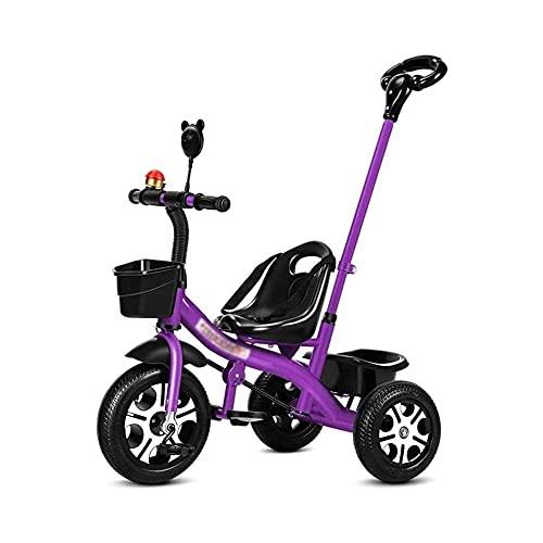 TRIKES TRIKS TRIKIN niños triciclo 2 en 1 empuje a lo largo del triciclo con el triciclo de mango de los padres, niños de 3 a 6 años de edad, niñas para niños pequeños scooters, bicicleta en bicicleta