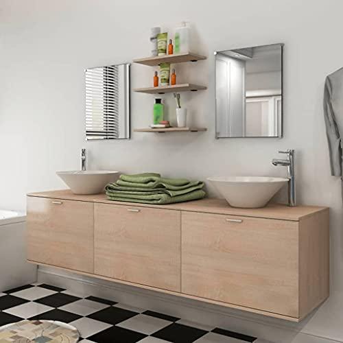 Conjunto de Muebles de baño y Lavabo 8 Piezas beigeMobiliario Conjuntos de Muebles Muebles de baño