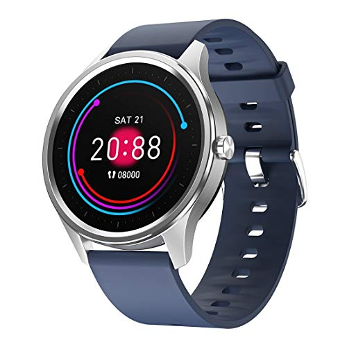 N / A Smart Wear 1.3 inch Round Touch Always-on Screen Smart Watch, Support Heart Rate Monitoring/Sleep Monitoring/Pedometer/Calories (Color : Blue)