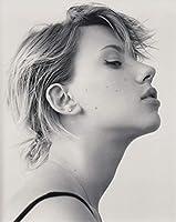 b直輸入、大きな写真、スカーレット・ヨハンソン、モノクロ鮮明横顔 Scarlett Johansson