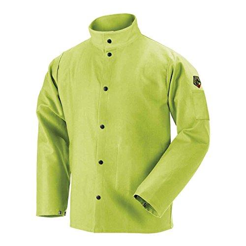 "BLACK STALLION 9 oz. FR Cotton Welding Coat - 30"" Lime Green FL9-30C - XL"