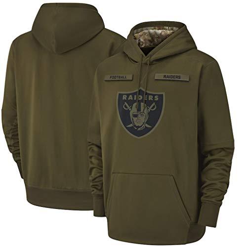 CHANGRAN Dunkelgrün Jersey Herbst und Winter langärmeligen Pullover Oakland Raiders Rugby Sporttrainingsanzug für Herren und Damen Jacke S-3XL,XL