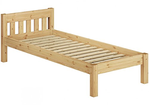 Erst-Holz® Kinderbett kurzes Bett Jugendbett 90x190 Kiefer Natur Massivholzbett Rollrost 60.38-09-190