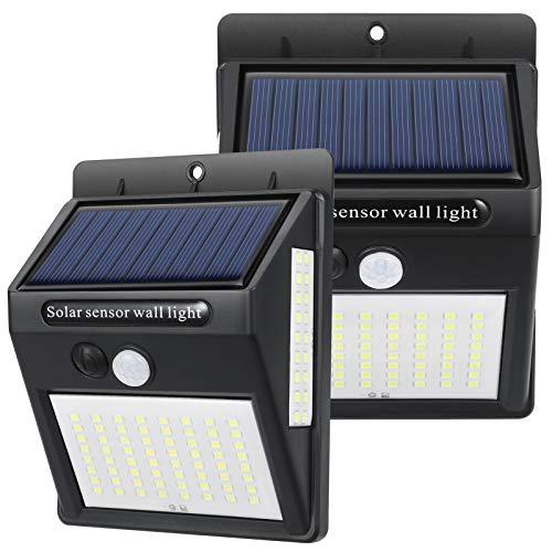 2er Pack Solarlampen für Außen mit Bewegungsmelder, Solar-Außenbeleuchtung IP65 Wasserdichte Solar LED Außen Garten100 LED Solarleuchte Aussen Drahtloses Solarlicht für Haustür, Garage, Hof, Zaun