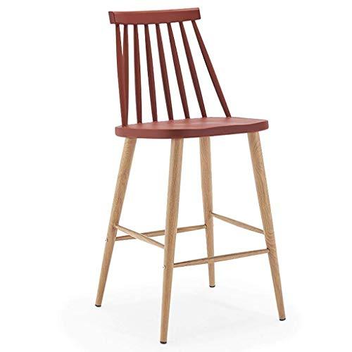 Eettafel van rode hoge stoel met pedalen, ABS-zittingen en houtachtige stalen poten, barkruk voor huis/keuken/pub/café, kan 200 kg dragen. bordeaux