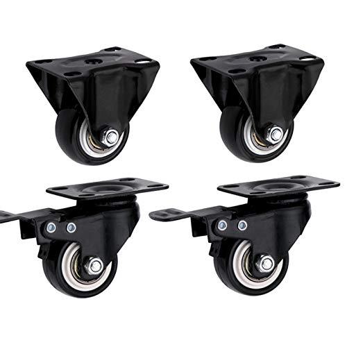 Casters ALY roulettes, 1,5/2 Pouces Roue PU Roue Universel Noir avec des Accessoires de Meubles de Frein Roue de Combinaison (2 x Roue de Frein + 2 × Roue Universelle)