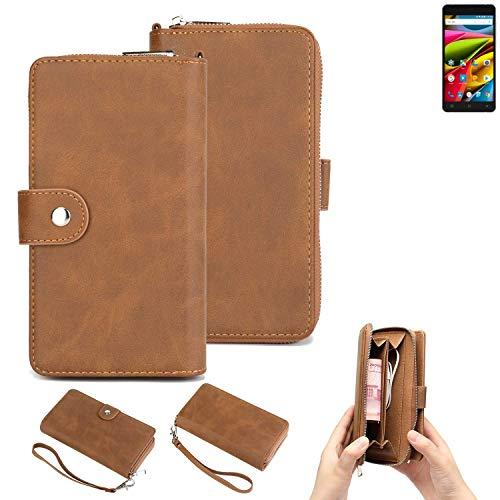 K-S-Trade Handy-Schutz-Hülle Für Archos 55b Cobalt Lite Portemonnee Tasche Wallet-Hülle Bookstyle-Etui Braun (1x)