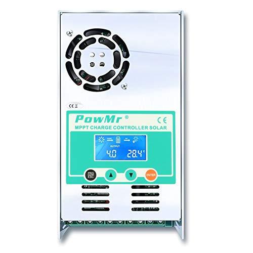 PowMr 60 amp MPPT Charge Controller 12V 24V 36V 48V, Solar Charge Controller mppt Max 160VDC Input LCD Backlight Solar Charge for Sealed Gel AGM Lithium Battery