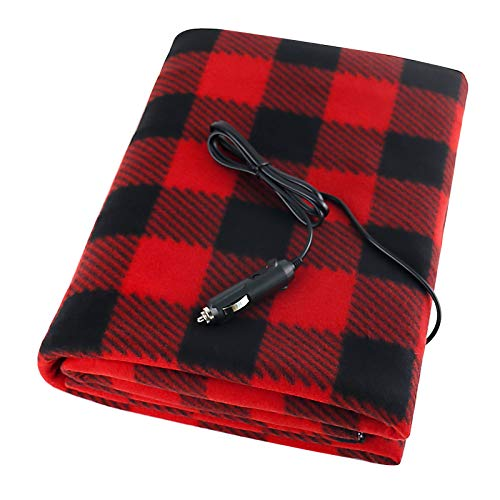 BESWORLDS Electric Car Blanket, 12V Heated Car Warm Blanket for Car Trucks and RV - Great for Cold Weather, Plaid Red Car Blanket 60 x 42 Inch