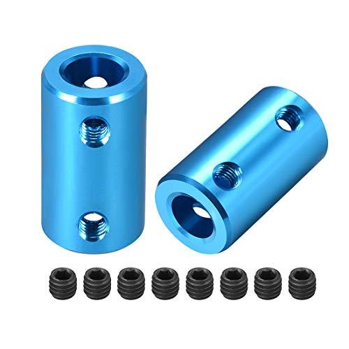 uxcell 8mm to 8mm Bore Rigid Coupling Set Screw L25XD14 Aluminum Alloy,Shaft Coupler Connector,Motor Accessories,Blue,2pcs