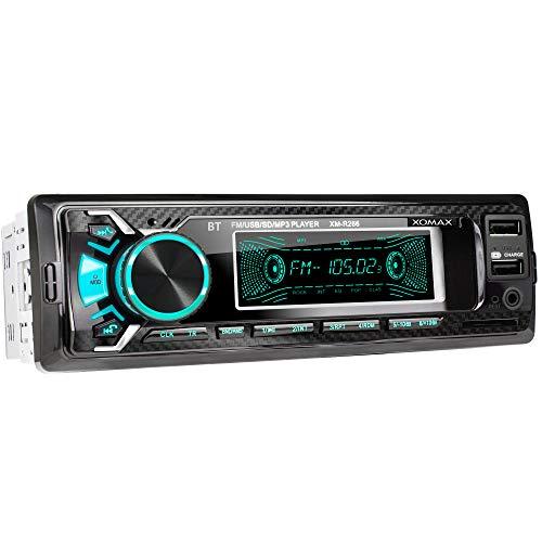 XOMAX XM-R266 Autoradio mit Bluetooth Freisprecheinrichtung I Smartphone Ladefunktion über 2. USB Anschluss I Carbon Optik I 7 LED Farben einstellbar I USB, SD, MP3, AUX I 1 DIN