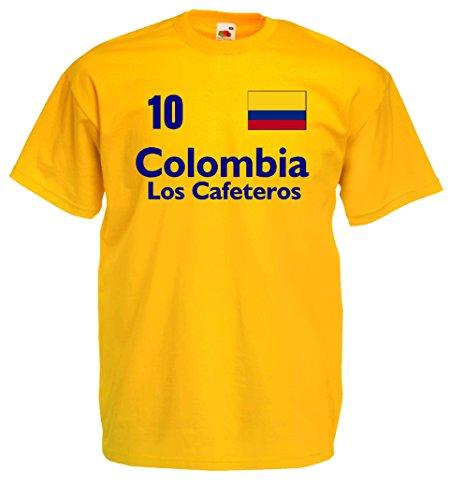 Kolumbien Herren T-Shirt Columbia Los Cafeteros Trikot Nr.10gelb-M