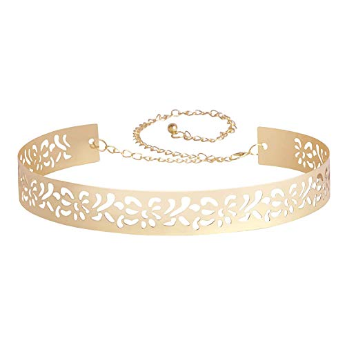 Fabme Women's Metal Adjustable Belt for Saree, Western Dress, Traditional Dress, Party Designer wear (Hollow Design, 4 cm wide)